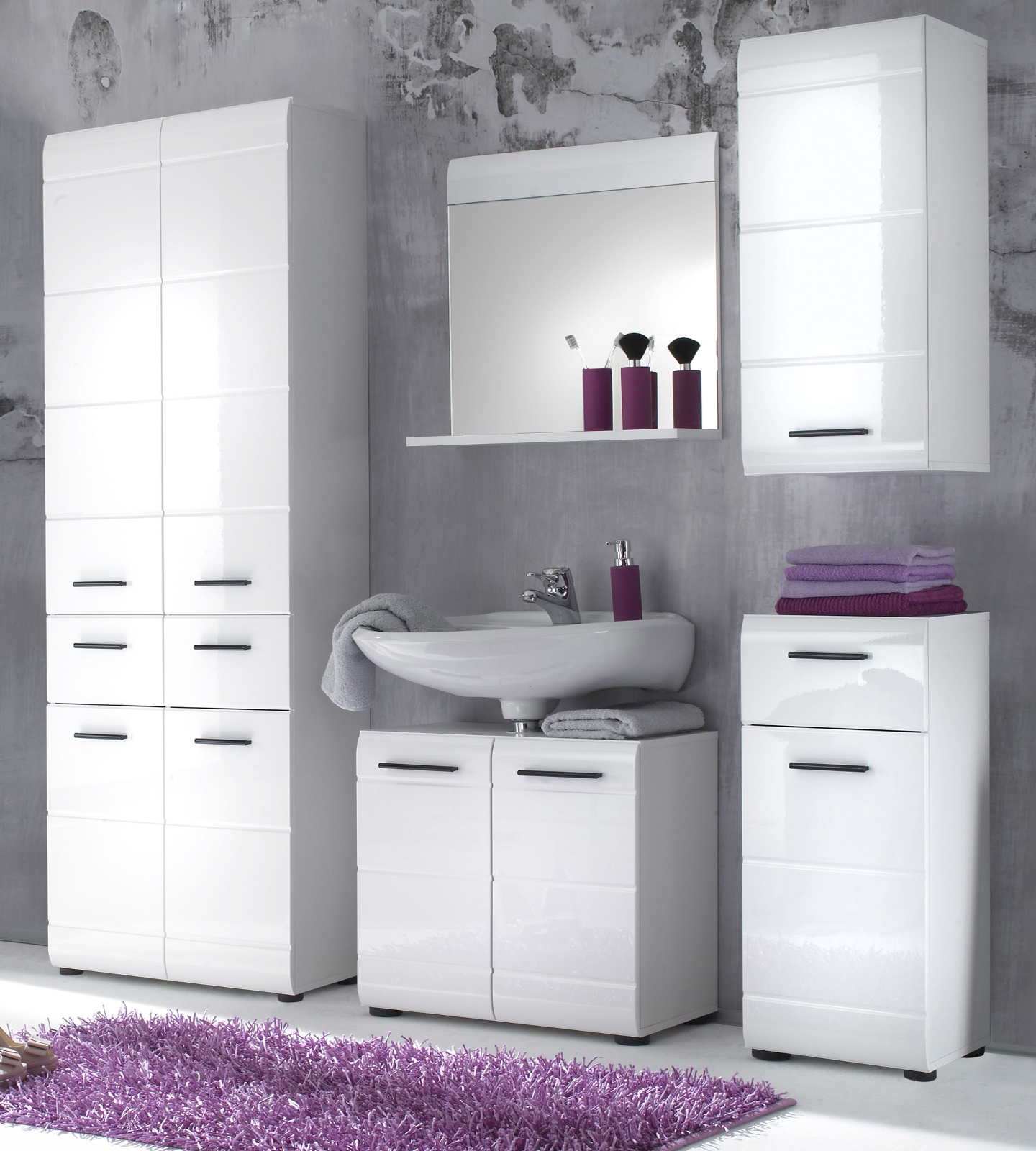 badm bel set skin wei hochglanz 5 teilig. Black Bedroom Furniture Sets. Home Design Ideas