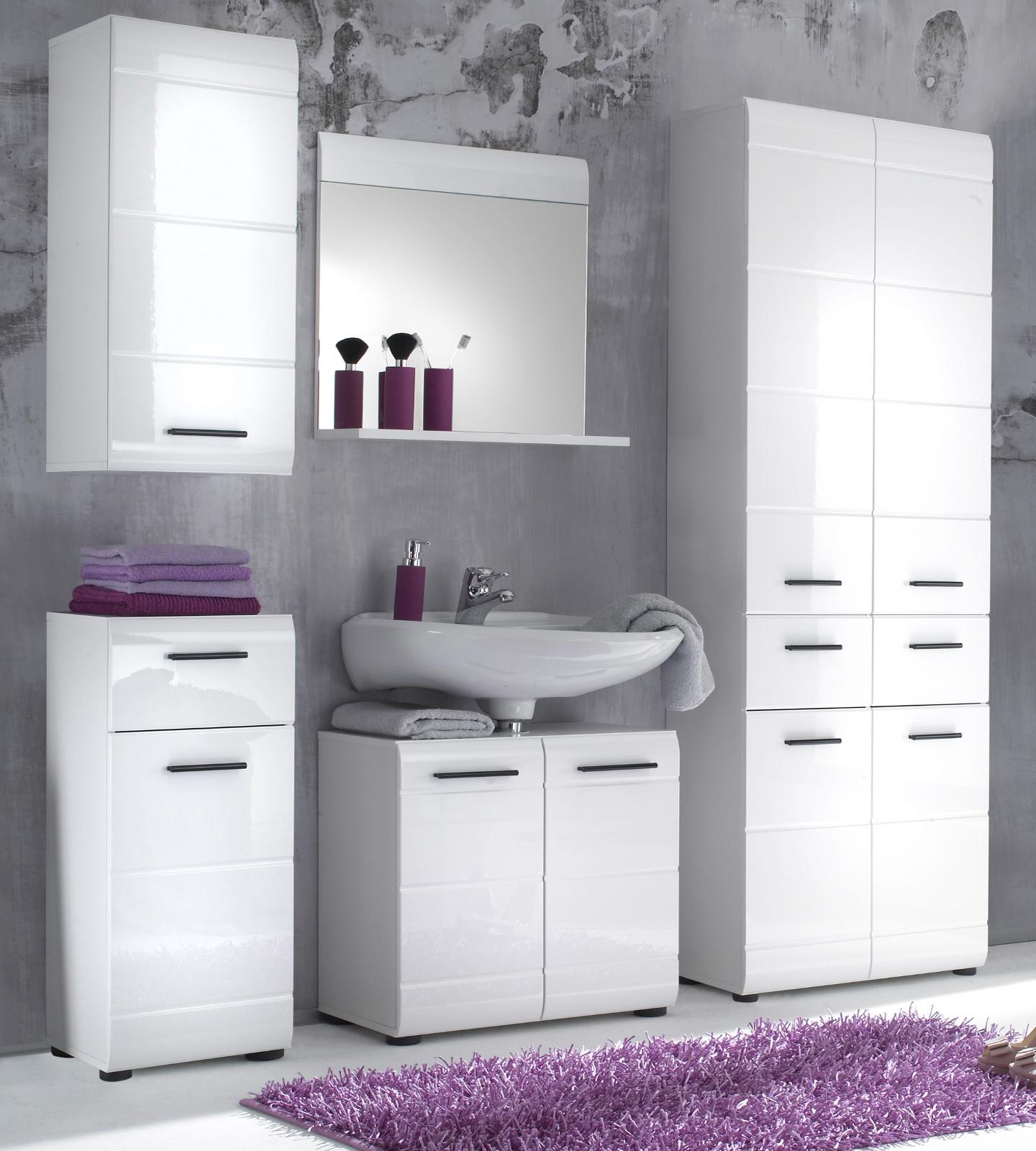 Badmöbel Set Skin Hochglanz Weiß 5 Teilig Badezimmer Waschplatz