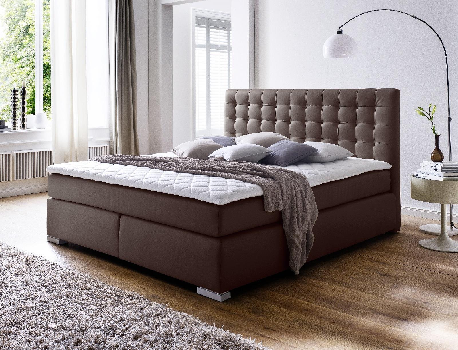 boxspringbett isabelle braun 200cm x 200cm. Black Bedroom Furniture Sets. Home Design Ideas
