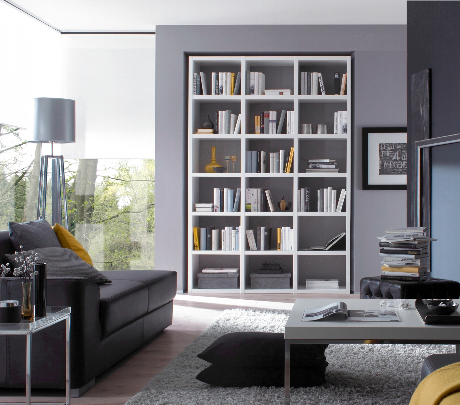 b cherwand bibliothek raumteiler wei hochglanz. Black Bedroom Furniture Sets. Home Design Ideas
