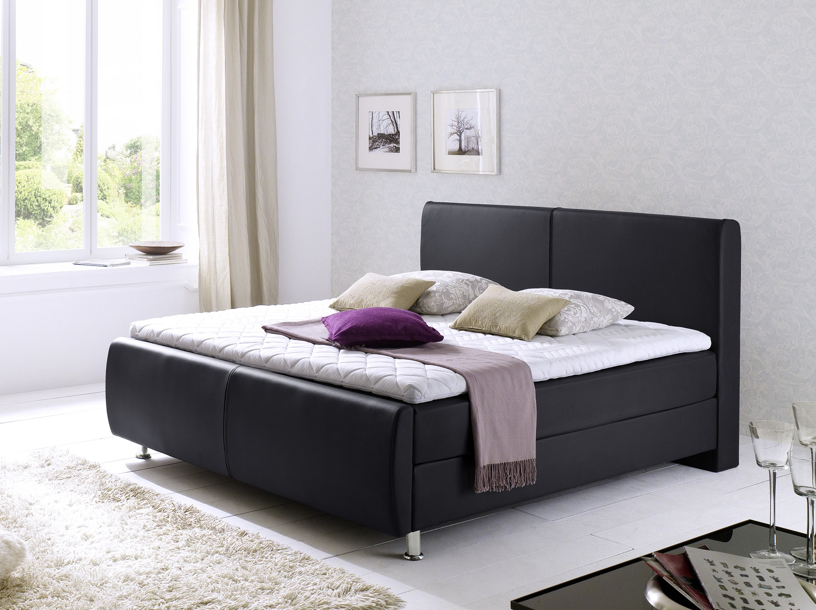 boxspringbett amond schwarz 140 x 200 cm. Black Bedroom Furniture Sets. Home Design Ideas