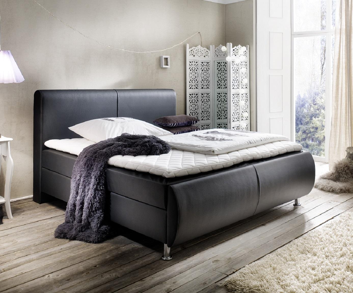 boxspringbett amond schwarz 140 x 200 cm. Black Bedroom Furniture Sets. Home Design Ideas