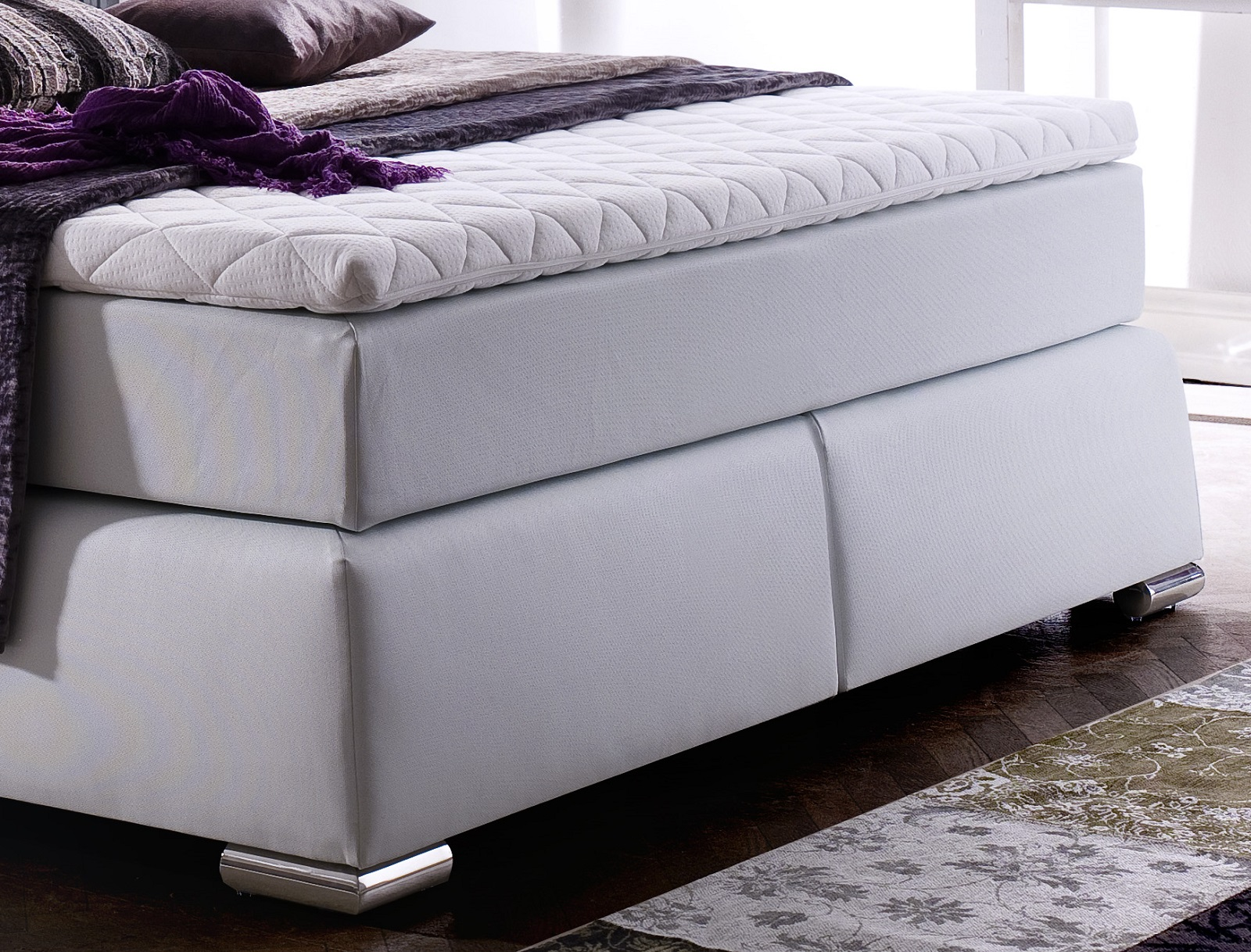boxspringbett claudine wei 160cm x 200cm. Black Bedroom Furniture Sets. Home Design Ideas