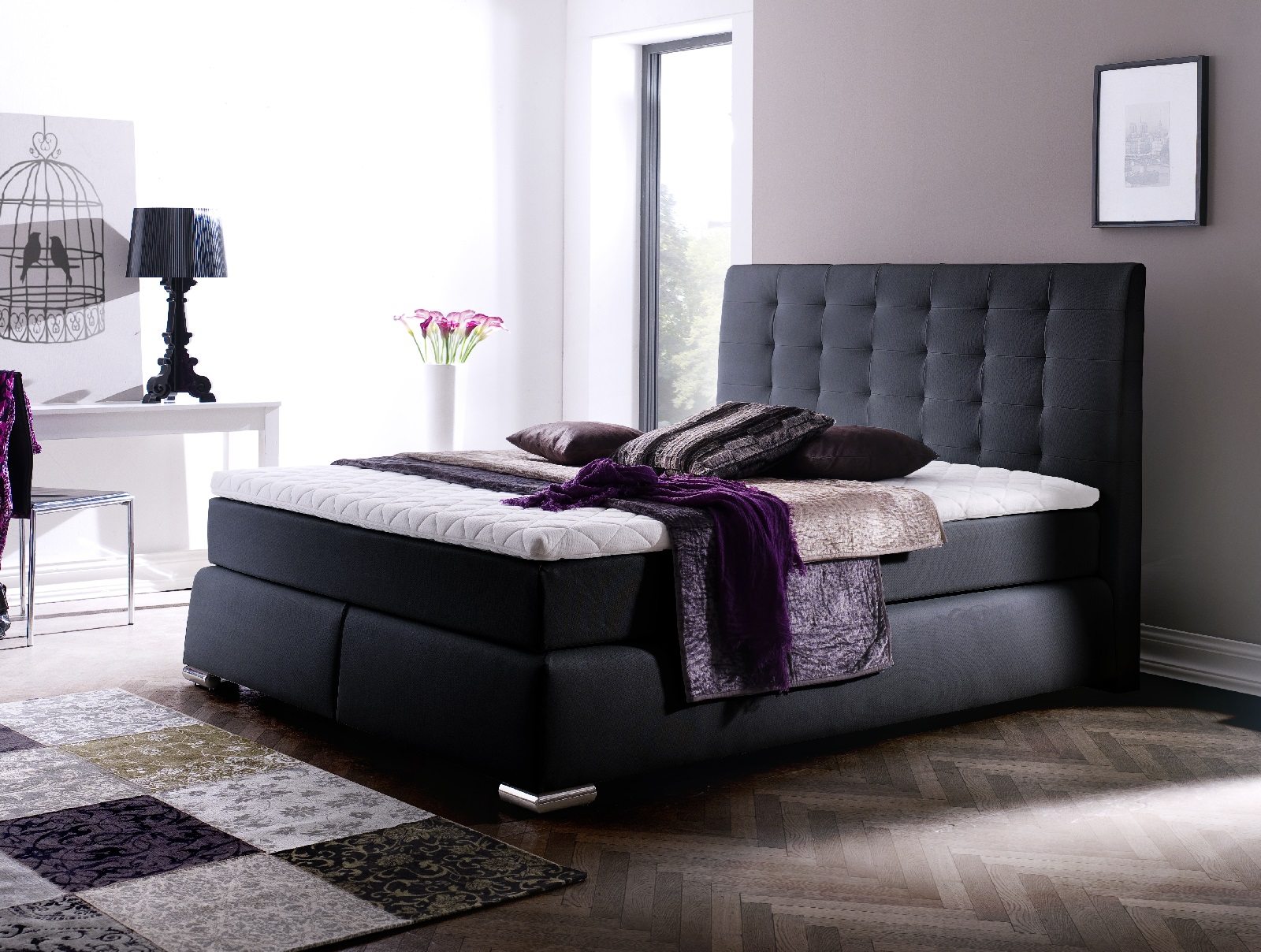 boxspringbett claudine schwarz 160cm x 200cm. Black Bedroom Furniture Sets. Home Design Ideas