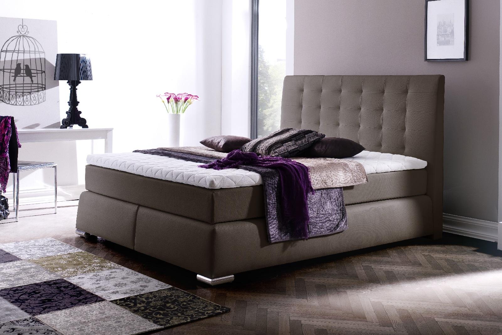 boxspringbett claudine braun 160cm x 200cm. Black Bedroom Furniture Sets. Home Design Ideas