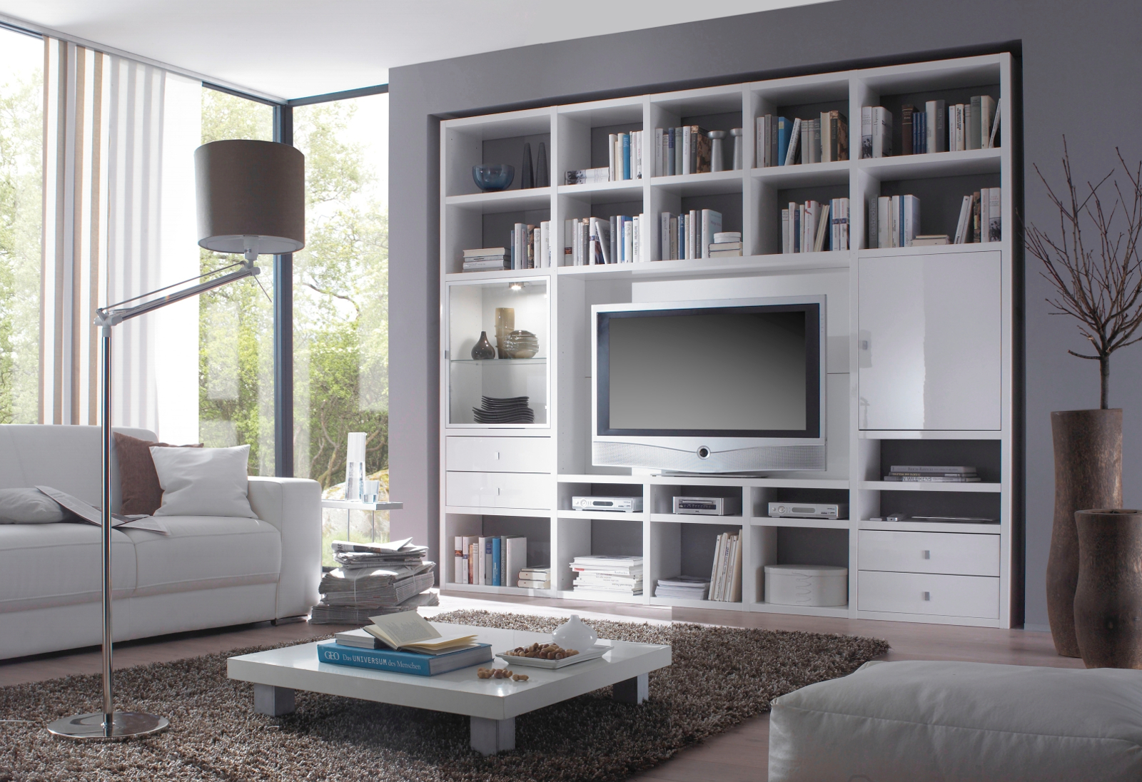 wohnwand b cherwand lack hochglanz wei. Black Bedroom Furniture Sets. Home Design Ideas