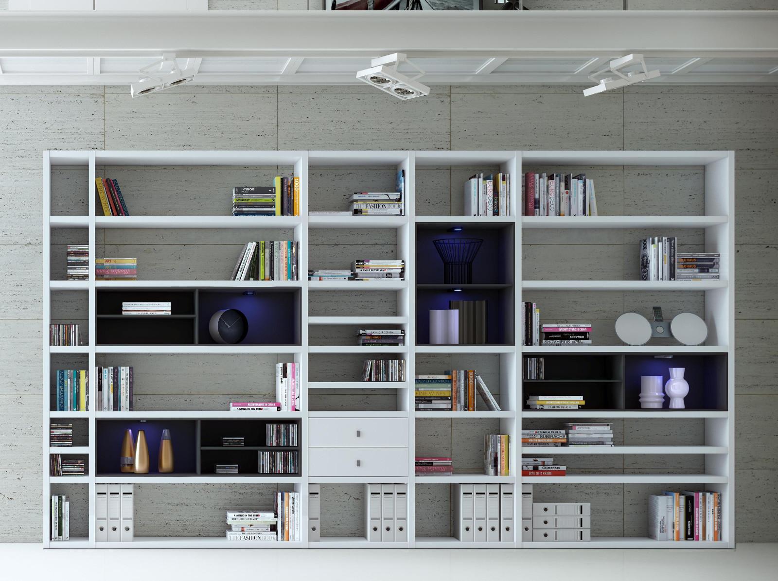 wohnwand b cherwand lack wei matt. Black Bedroom Furniture Sets. Home Design Ideas