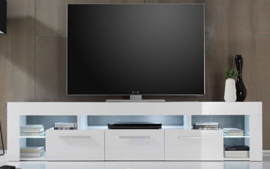 tv lowboard tv tisch in weiss hochglanz count fernsehtisch hifi m bel mit 200 cm. Black Bedroom Furniture Sets. Home Design Ideas