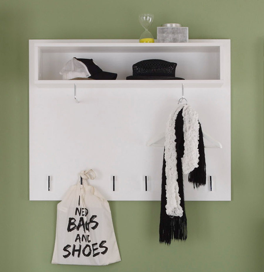 Garderobe garderobenpaneel derby hochglanz wei for Garderobenpaneel 100 cm breit