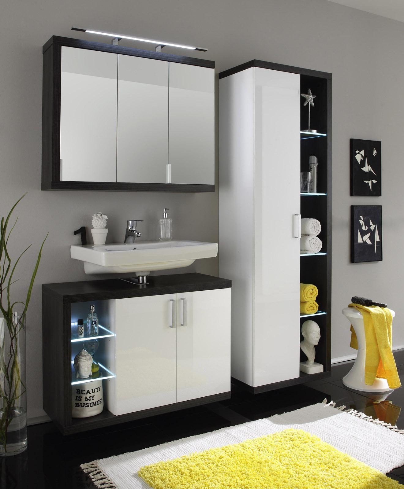Badezimmermöbel weiss günstig  Badmöbel Sunrise Weiß/Silber günstig online kaufen