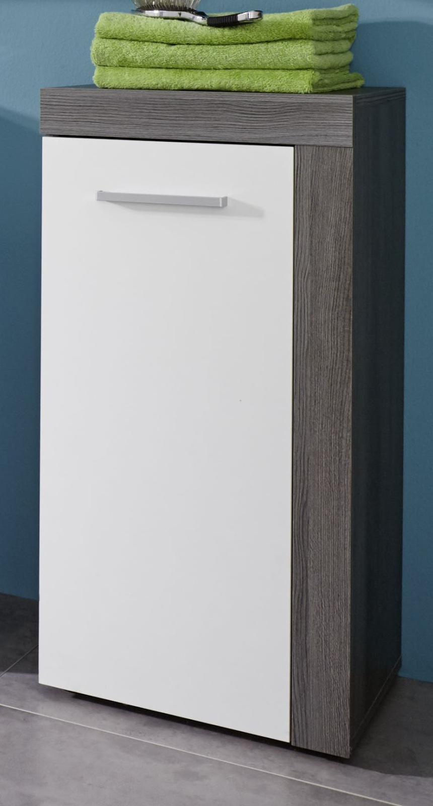... Kommode Miami Badezimmer Schrank Sardegna rauchsilber grau mit weiß