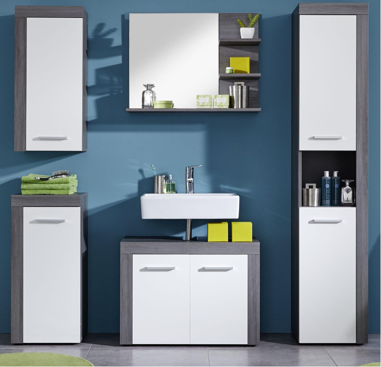 badmöbel miami weiß/silber günstig online kaufen, Badezimmer ideen