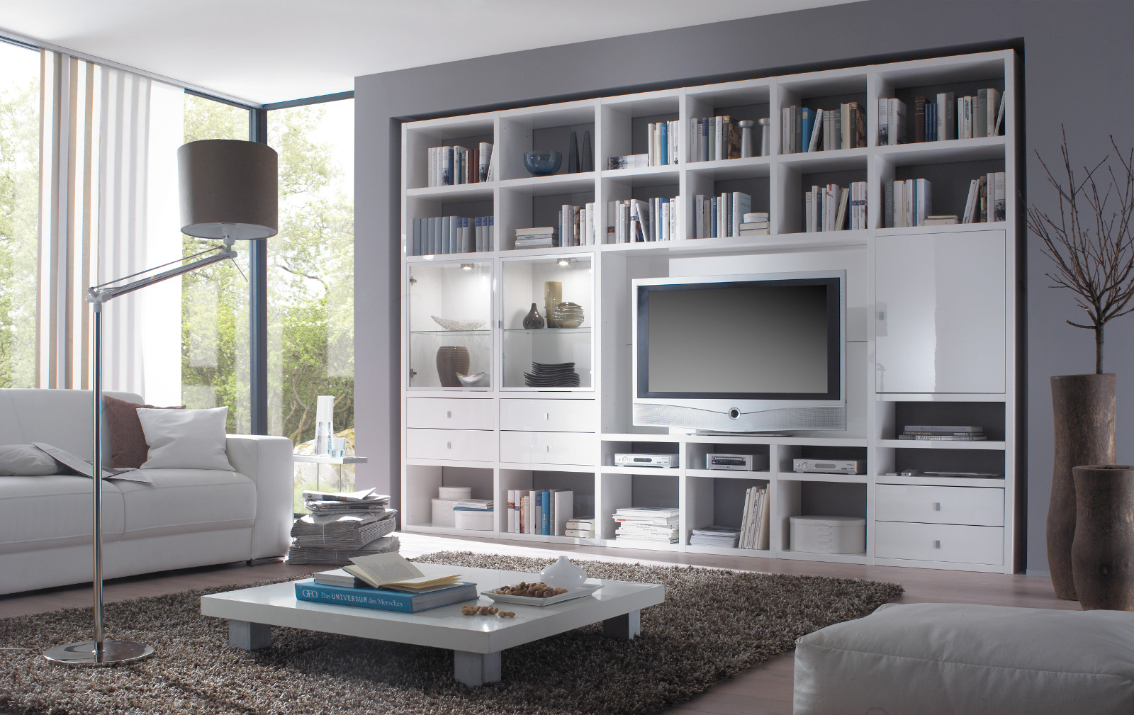 wohnwand b cherwand lack wei matt eiche natur. Black Bedroom Furniture Sets. Home Design Ideas