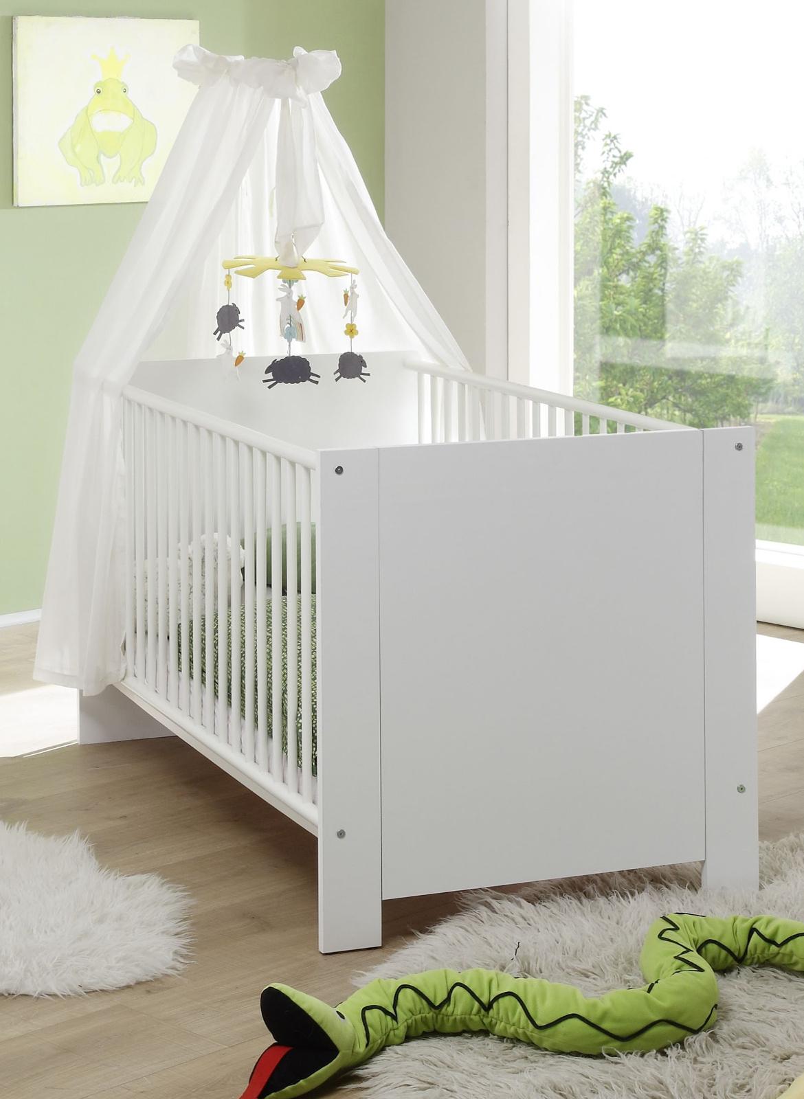 Babybett Kinderbett 70 x 140 Gitterbett weiß komplett mit Lattenrost Holz Olivia