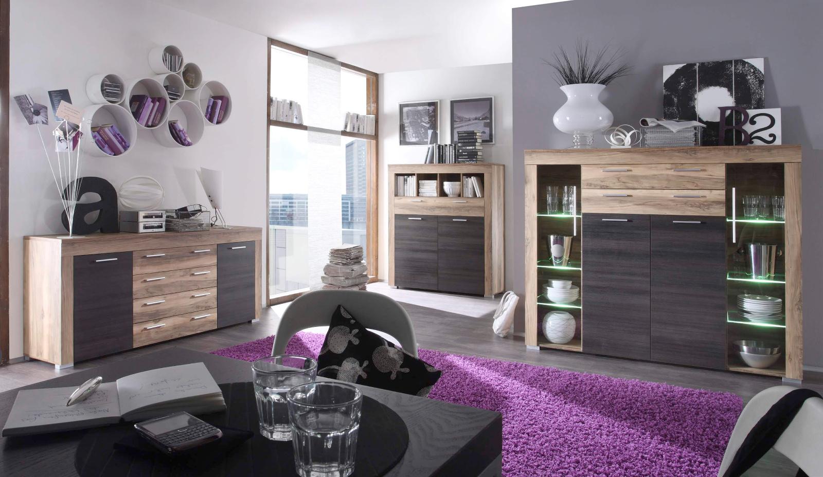 Vitrine Hochschrank Wohnzimmer Boom Nussbaum mit Touchwood dunkel inkl