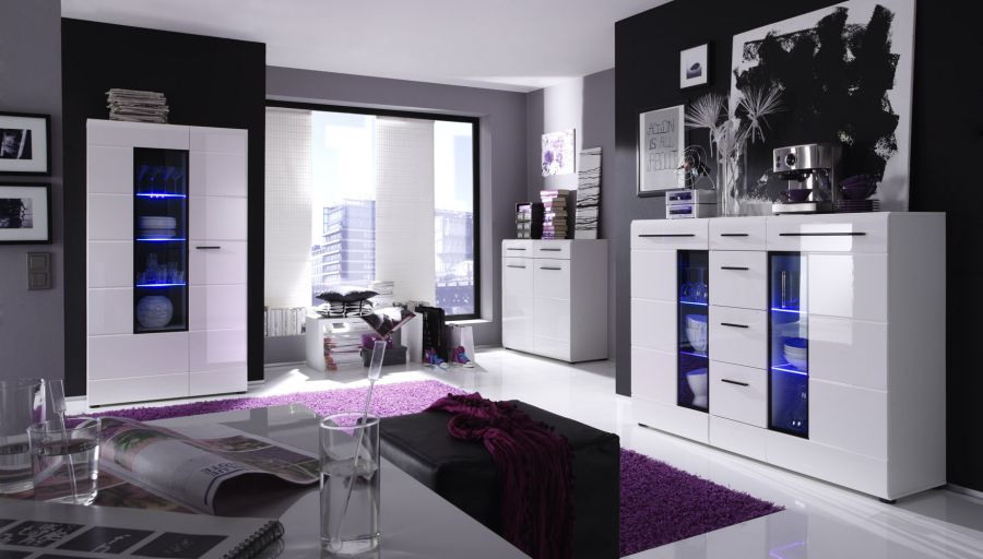 wohnwand hochglanz wei wohnzimmer m bel skin anbauwand schrankwand schrank led ebay. Black Bedroom Furniture Sets. Home Design Ideas