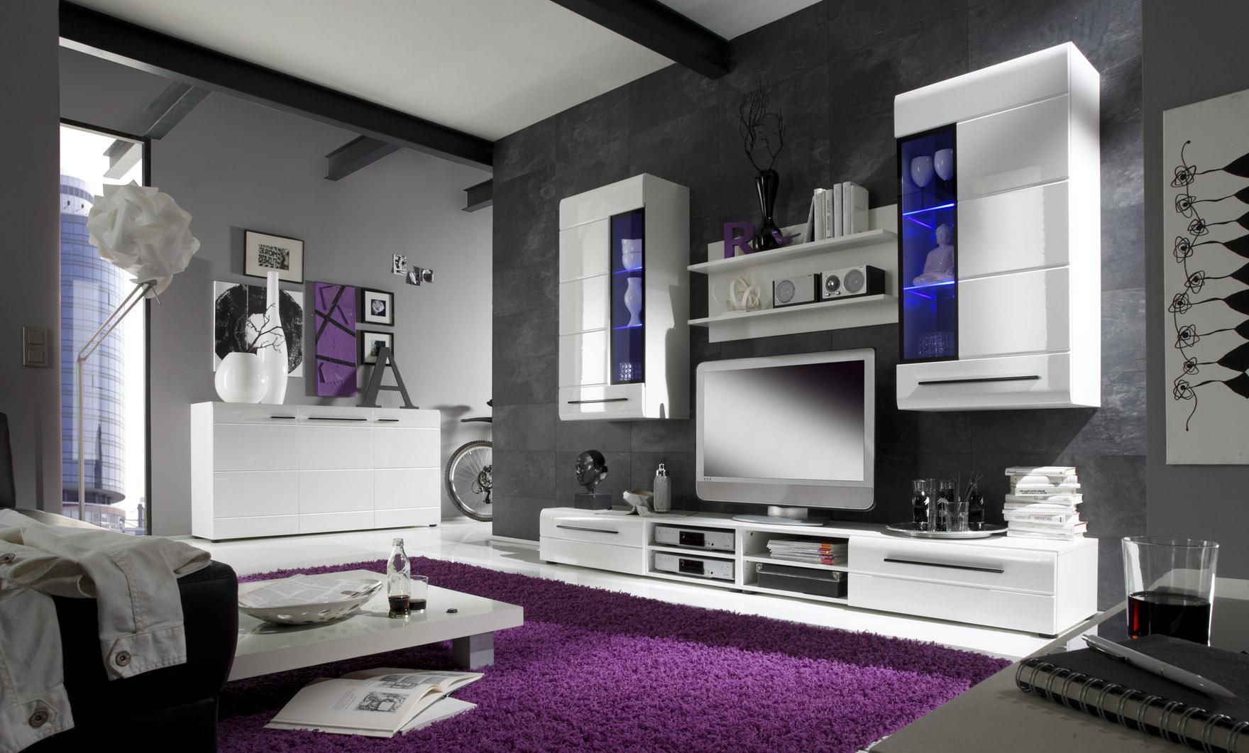 Wohnwände Schwarz Weiß Hochglanz – sehremini