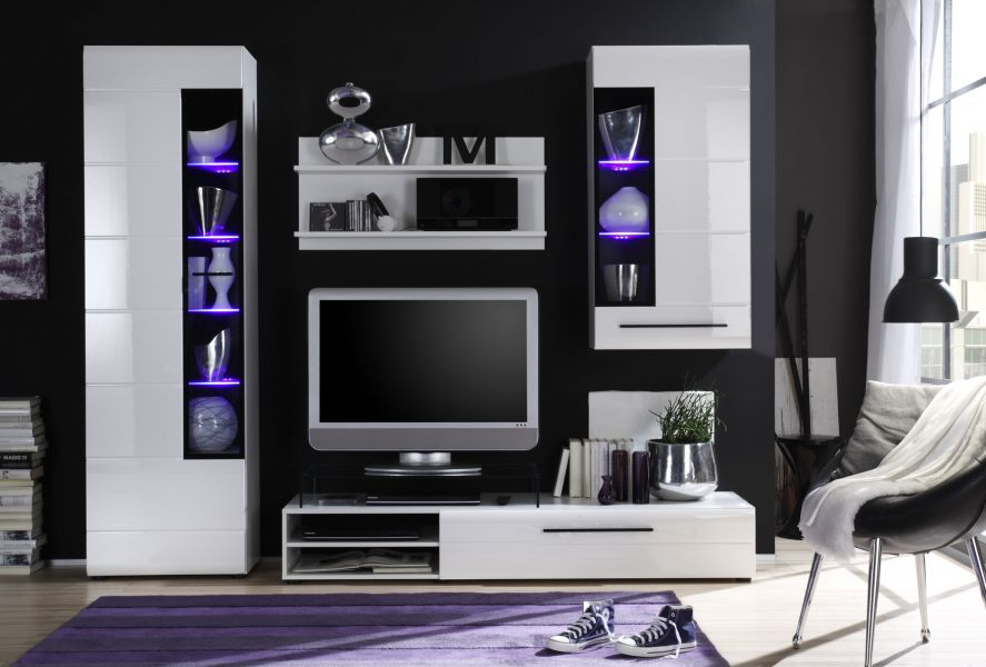 led beleuchtung holz weiss hochglanz anrichte sideboard. Black Bedroom Furniture Sets. Home Design Ideas