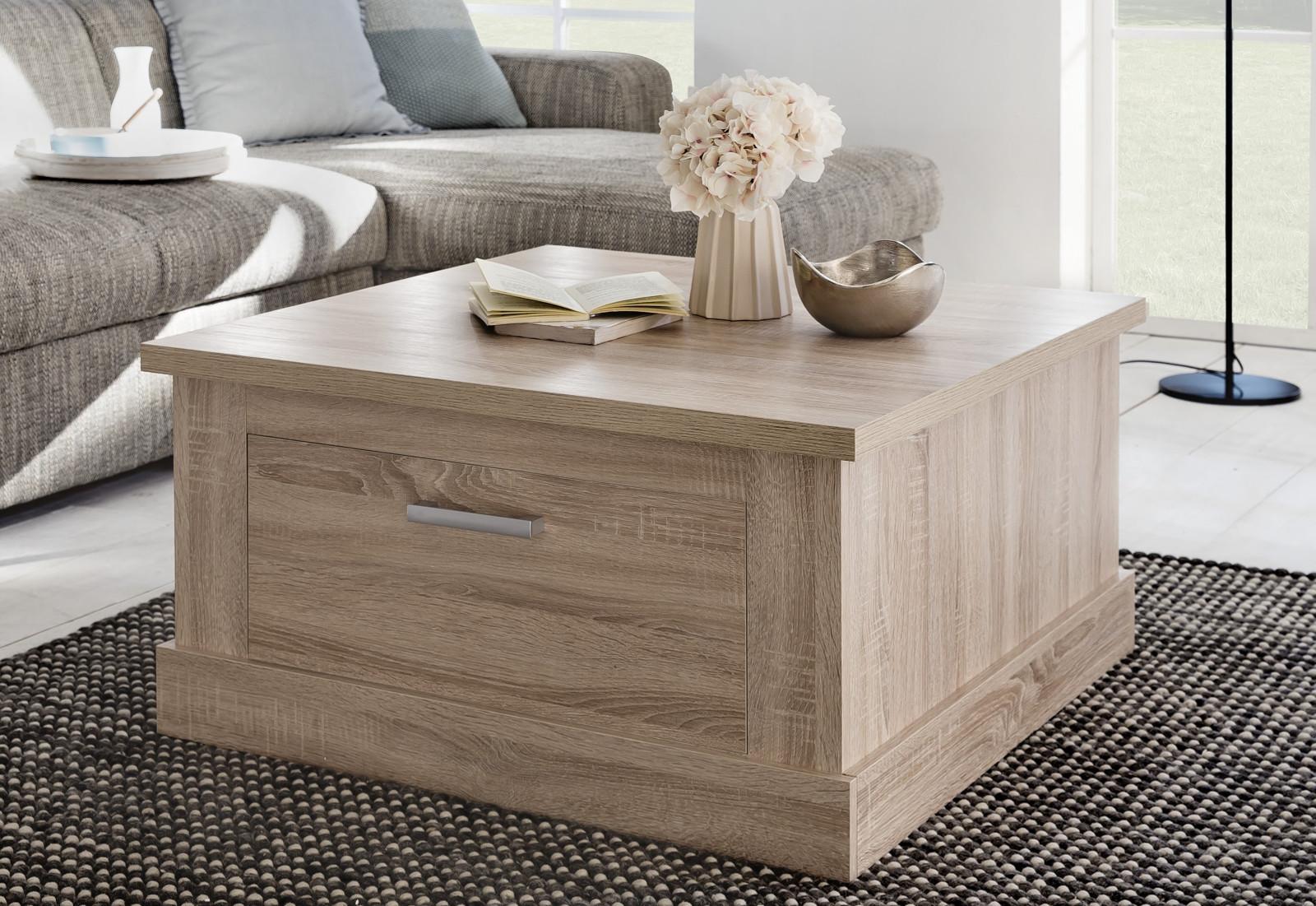 Couchtisch Wohnzimmer Tisch Sonoma Eiche 2x Schubkasten