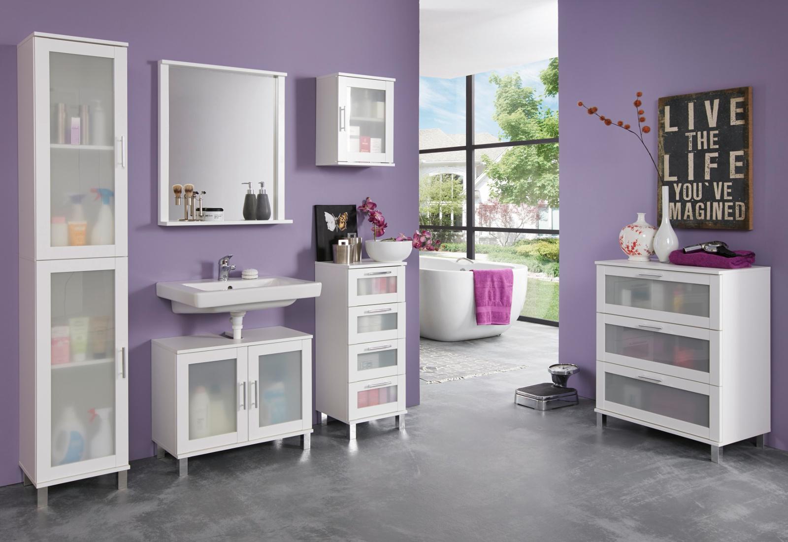 bad m bel badezimmer komplett set wei glas satiniert 6 tlg mit kommode florida ebay. Black Bedroom Furniture Sets. Home Design Ideas
