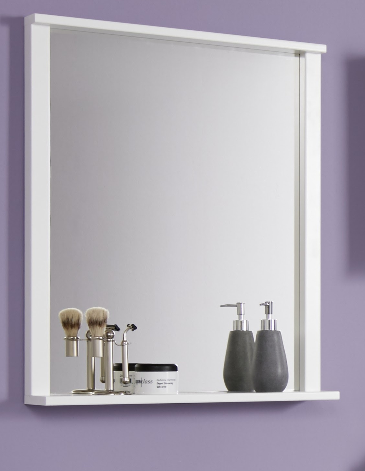 wandspiegel florida wei melamin mit ablage. Black Bedroom Furniture Sets. Home Design Ideas