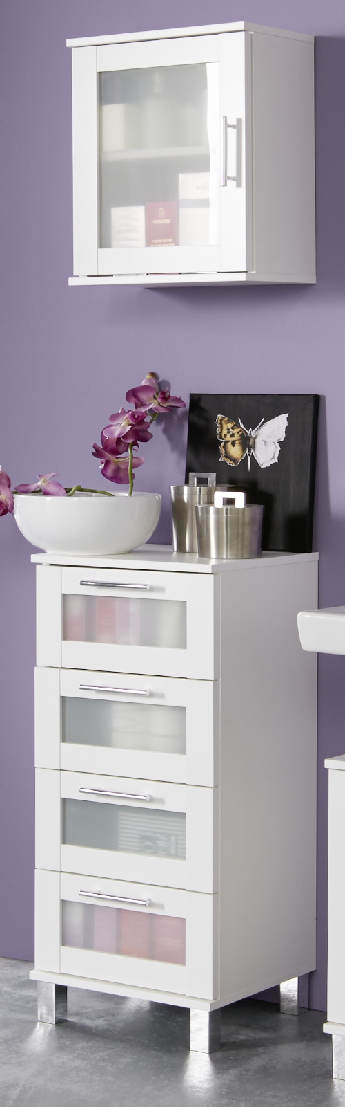Bad Schrank Badezimmer Kommode In Weiß Mit Glas