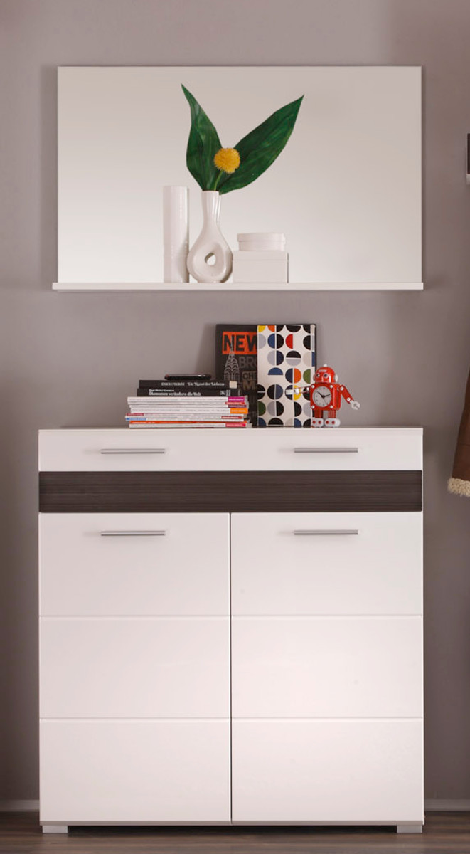 flurgarderobe set mezzo 2 teilig in hochglanz wei mit. Black Bedroom Furniture Sets. Home Design Ideas