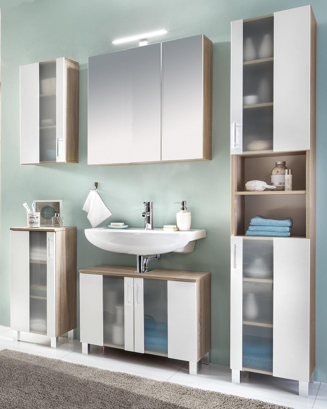 badm bel porto wei eiche. Black Bedroom Furniture Sets. Home Design Ideas