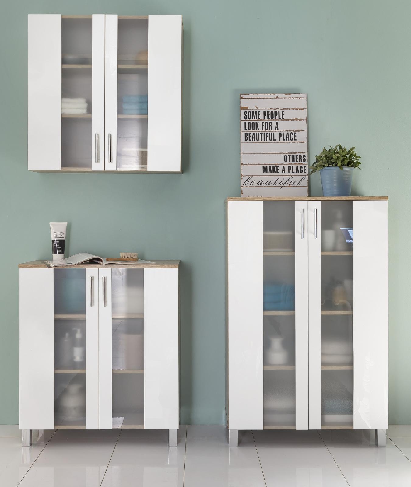 Unglaublich Badezimmer Schränke Referenz Von Badmöbel Badezimmerschränke Porto Set 3-teilig Weiß /