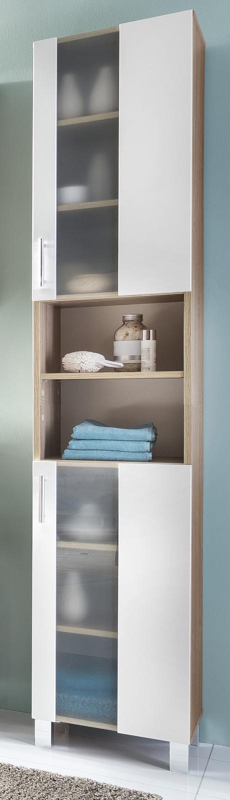 bad hochschrank porto wei eiche. Black Bedroom Furniture Sets. Home Design Ideas