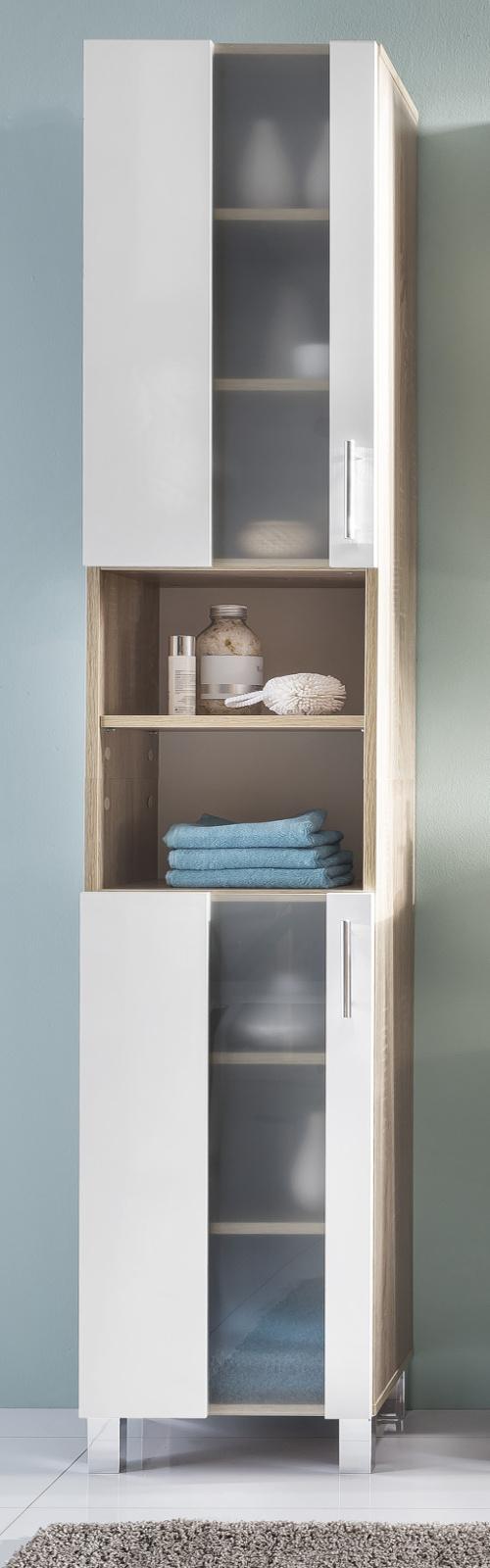 hochschrank badschrank weiss eiche badezimmer bad schrank glas satiniert porto ebay. Black Bedroom Furniture Sets. Home Design Ideas