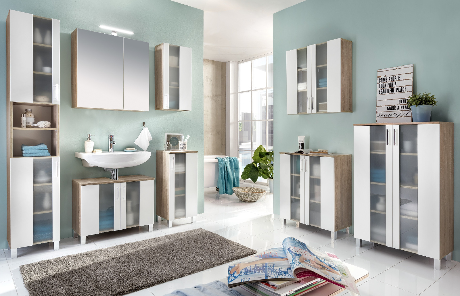 h ngeschrank porto wei eiche. Black Bedroom Furniture Sets. Home Design Ideas