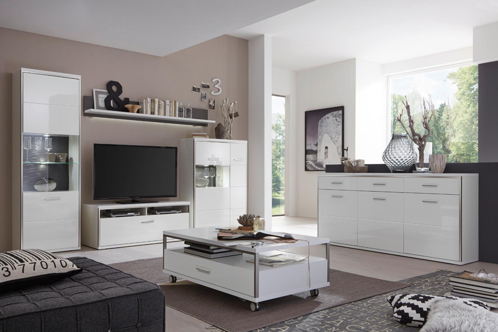 wohnwand trento 2 in wei hochglanz mit edelstahl. Black Bedroom Furniture Sets. Home Design Ideas
