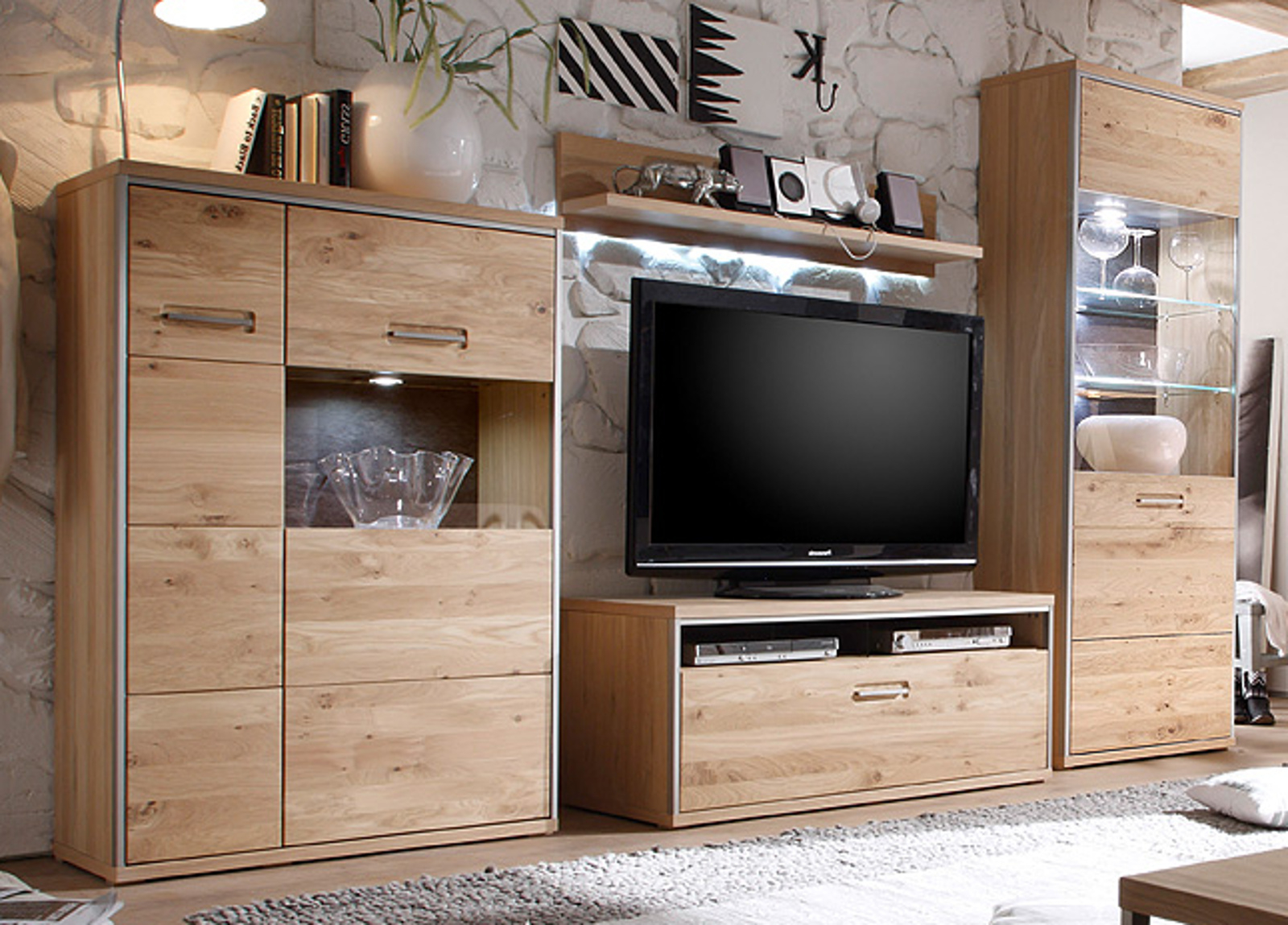 wohnwand altholz trendy wohnwand cando teilig in wei with. Black Bedroom Furniture Sets. Home Design Ideas