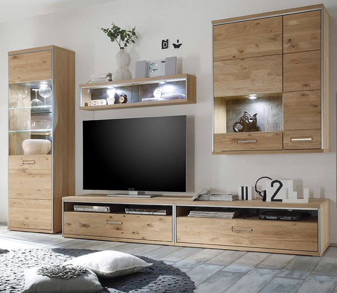 wohnwand espero asteiche edelstahl und schiefer. Black Bedroom Furniture Sets. Home Design Ideas