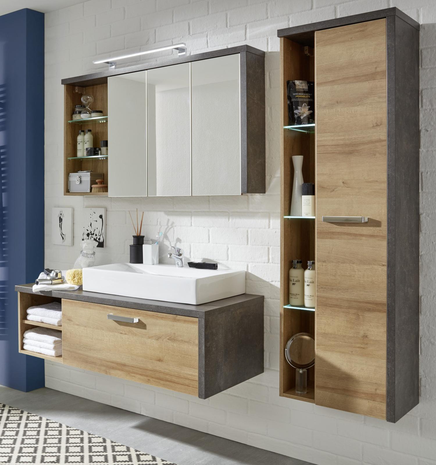 Badezimmermöbel holz grau  Badmöbel komplett Set Eiche Riviera und Beton grau
