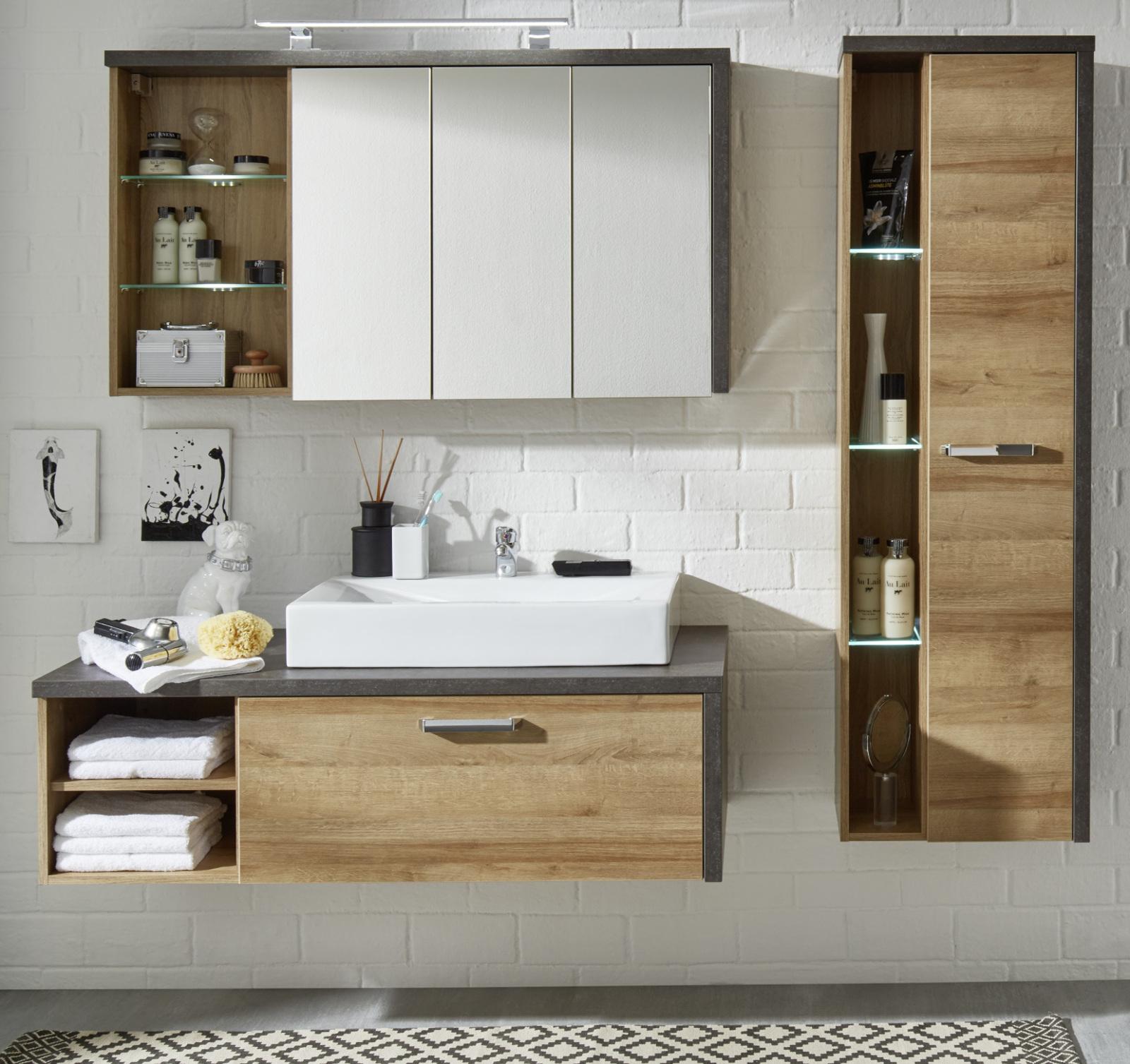 badm bel komplett set waschtisch mit waschbecken bad in eiche honig und grau bay ebay. Black Bedroom Furniture Sets. Home Design Ideas