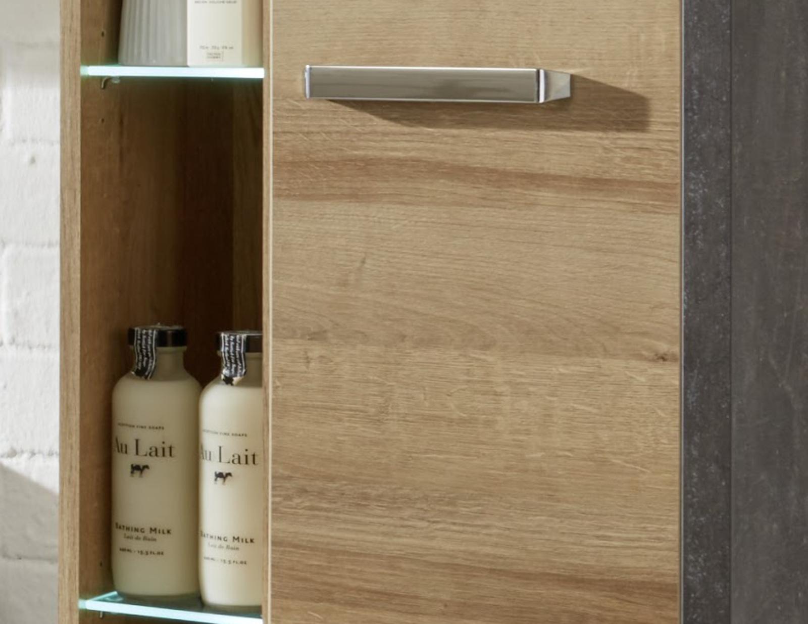erschrank eiche riviera honig grau design opt mit waschbecken bay. Black Bedroom Furniture Sets. Home Design Ideas
