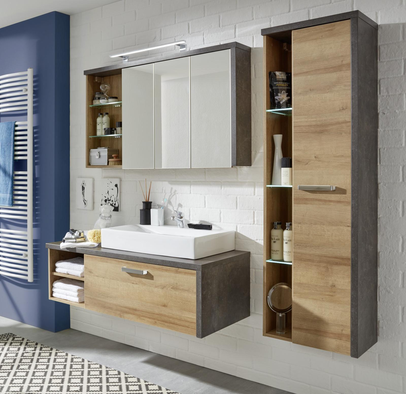 Waschbeckenunterschrank bay eiche honig und grau for Waschbeckenunterschrank design