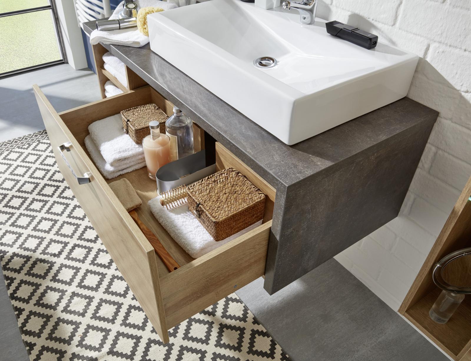Waschplatz mit Becken Bay Eiche Honig und grau | {Waschbeckenunterschrank aufsatzwaschbecken 69}