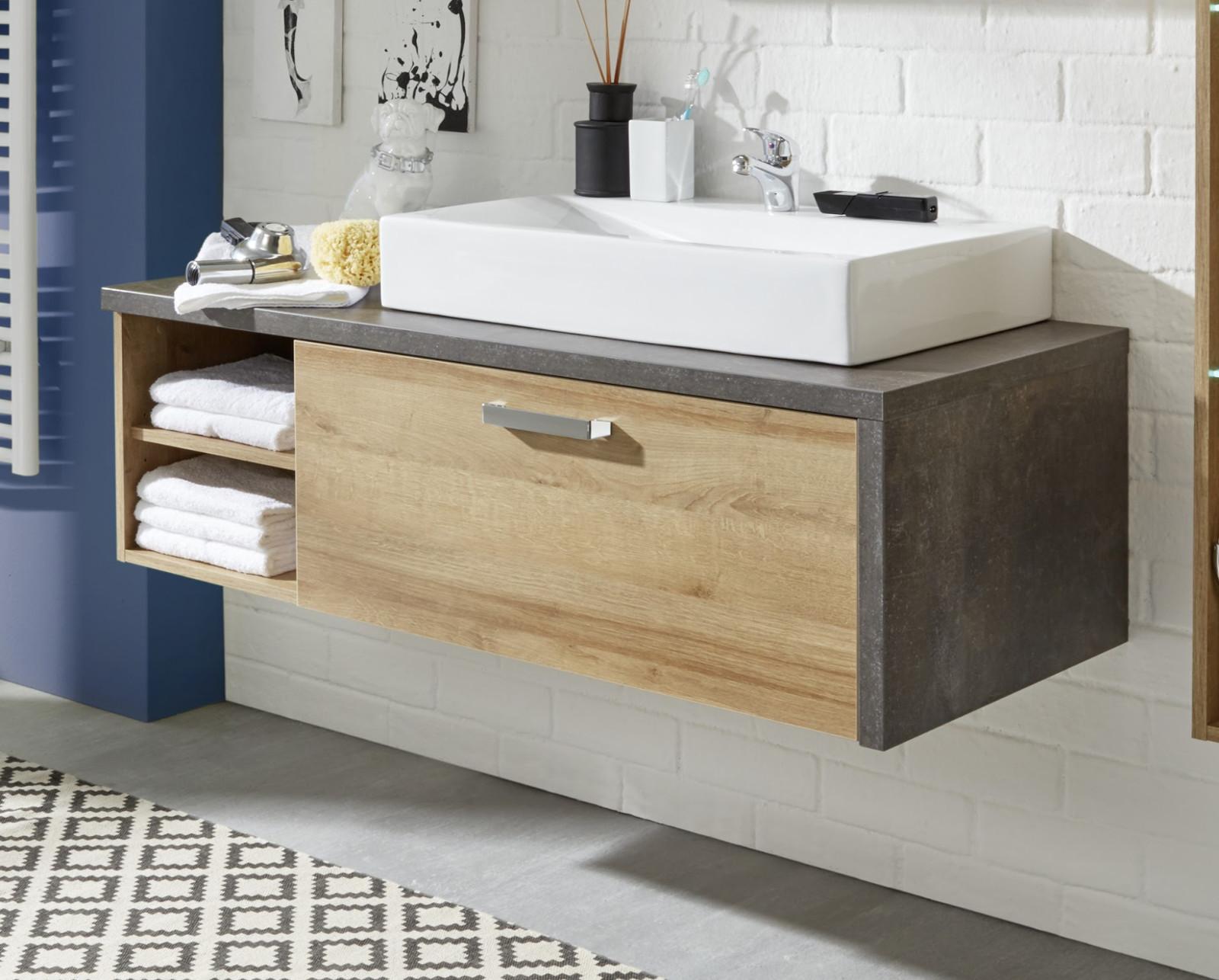 Waschplatz mit Becken Bay Eiche Honig und grau ...