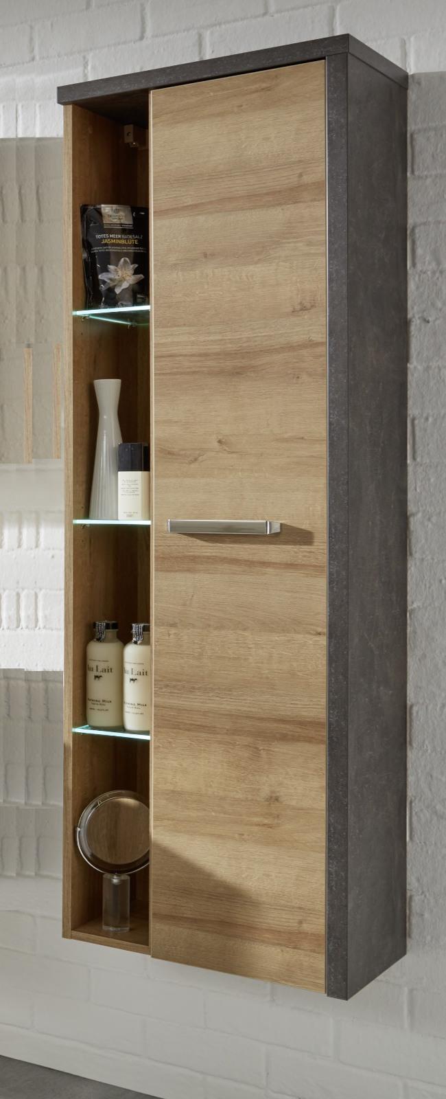 Hochschrank badezimmer  Hänge-/Hochschrank Bay Eiche Honig grau Beton