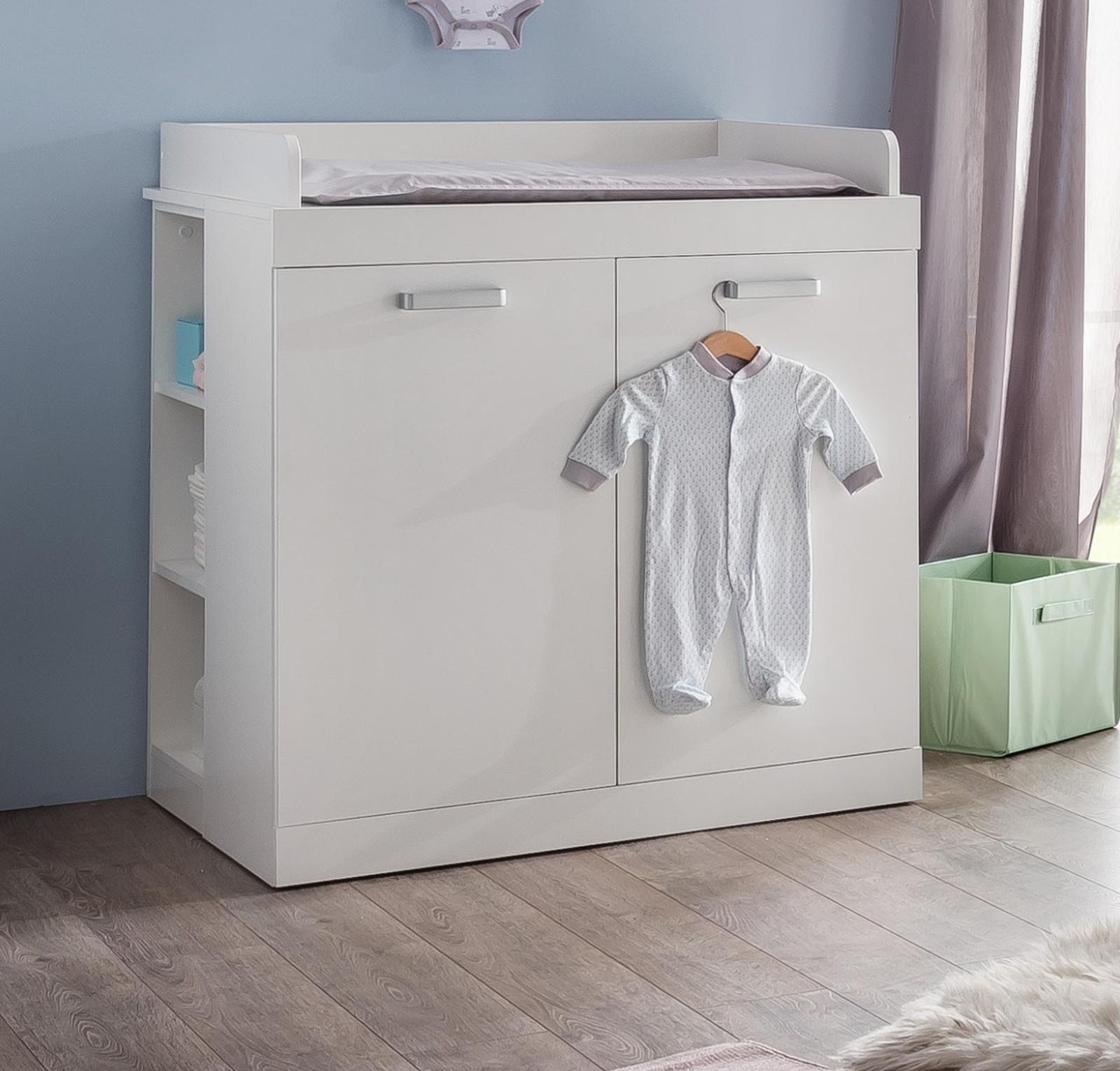 wickelkommode wei kommode mit wickelansatz opt mit regal baby m bel ronja ebay. Black Bedroom Furniture Sets. Home Design Ideas