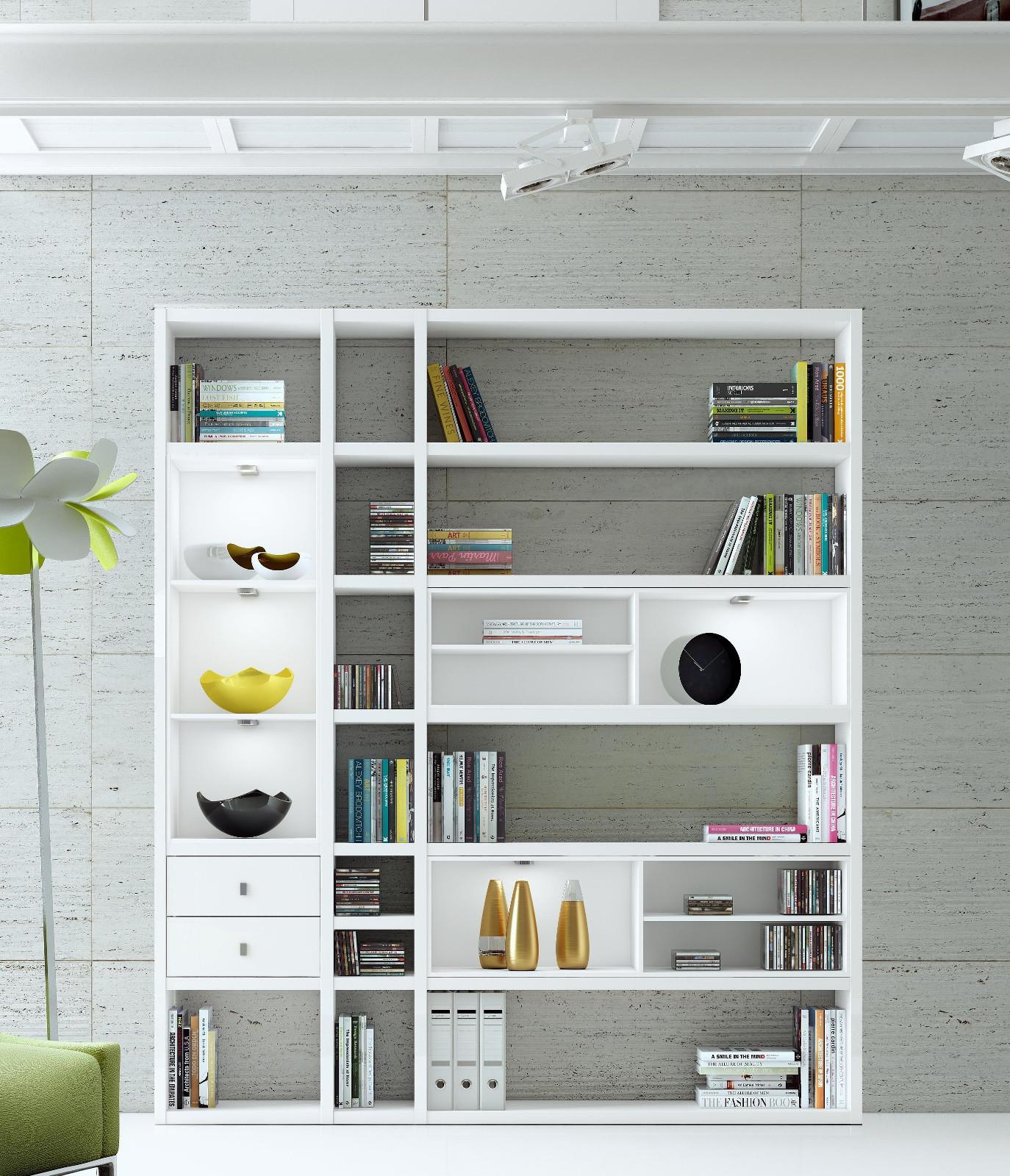 wohnwand b cherwand lack wei matt schwarz. Black Bedroom Furniture Sets. Home Design Ideas