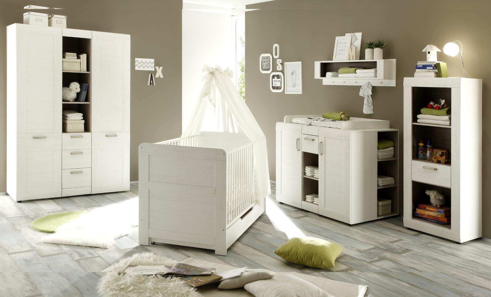 Babyzimmer set weiß  Babyzimmer komplett Set 7-tlg Pinie weiß Struktur