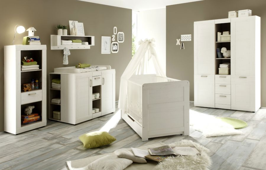 babyzimmer komplett set 7 tlg pinie wei struktur. Black Bedroom Furniture Sets. Home Design Ideas