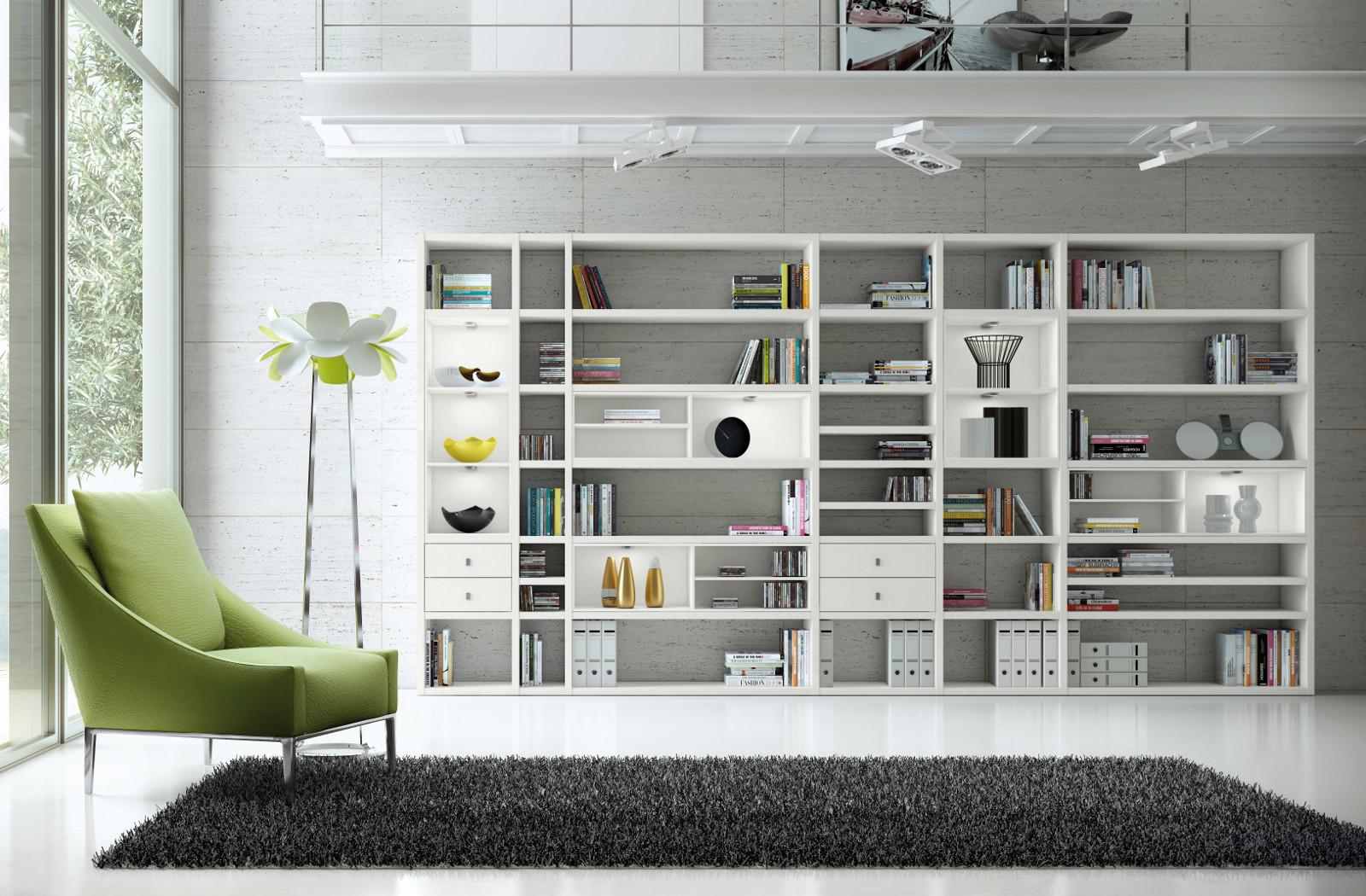 wohnwand b cherwand bibliothek lack wei hochglanz. Black Bedroom Furniture Sets. Home Design Ideas