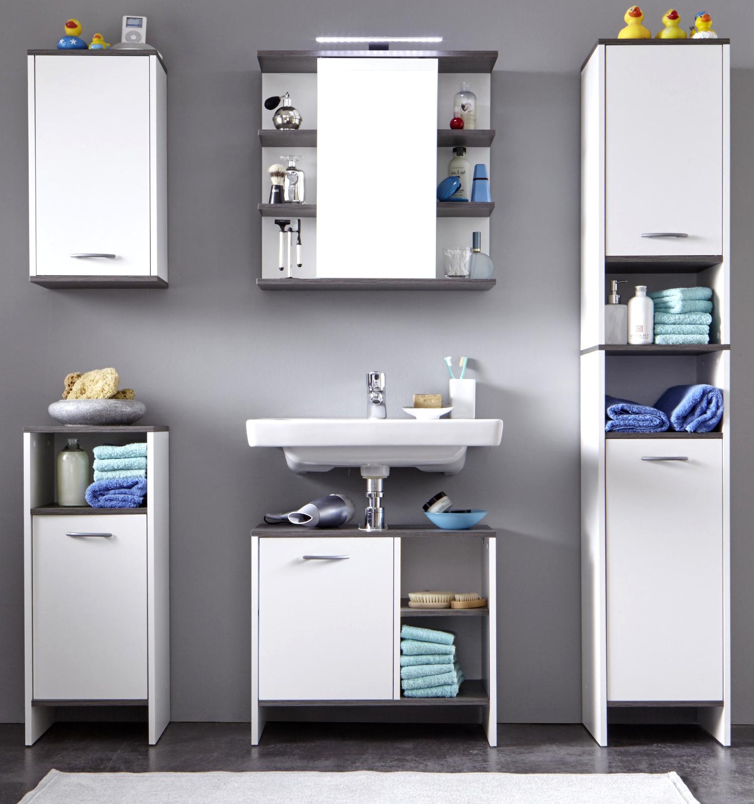 badezimmer set california wei rauchsilber. Black Bedroom Furniture Sets. Home Design Ideas