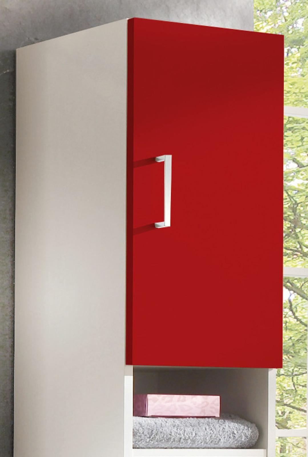 h ngeschrank mit dekoablage in wei und rot. Black Bedroom Furniture Sets. Home Design Ideas