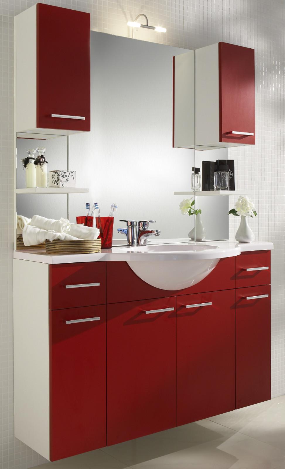 badmobel rot, waschplatz inkl. mineralgussbecken in rot weiß, Design ideen